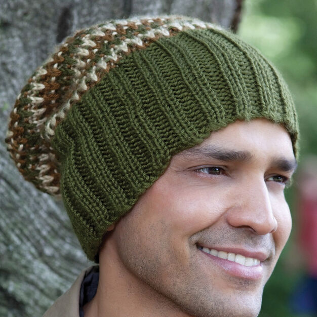 Caron His Tri Color Hat Pattern Yarnspirations