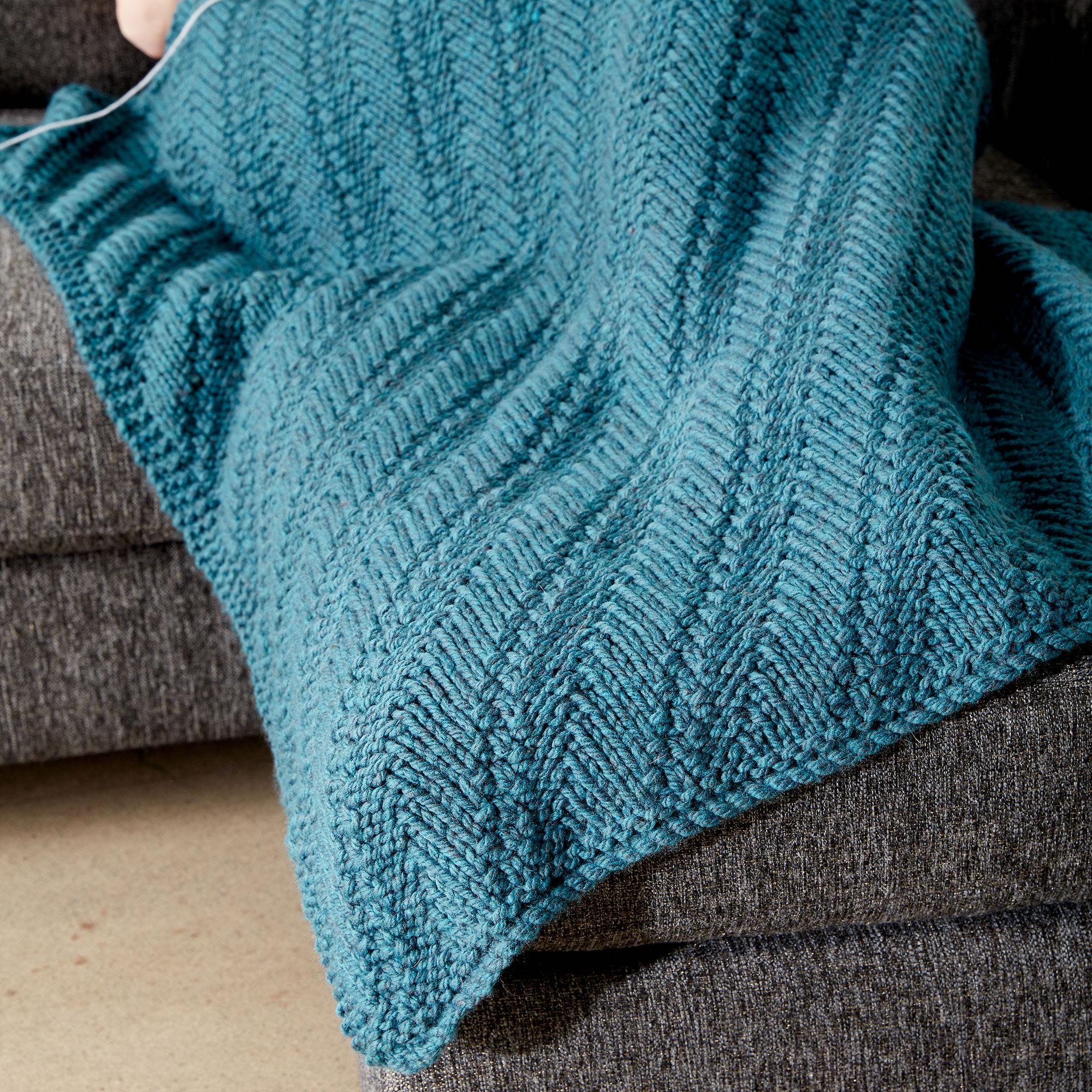 Bernat Reversible Knit Lap Blanket | Yarnspirations