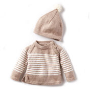 Bernat Wee Stripes Knit Pullover and Hat, 6 mos