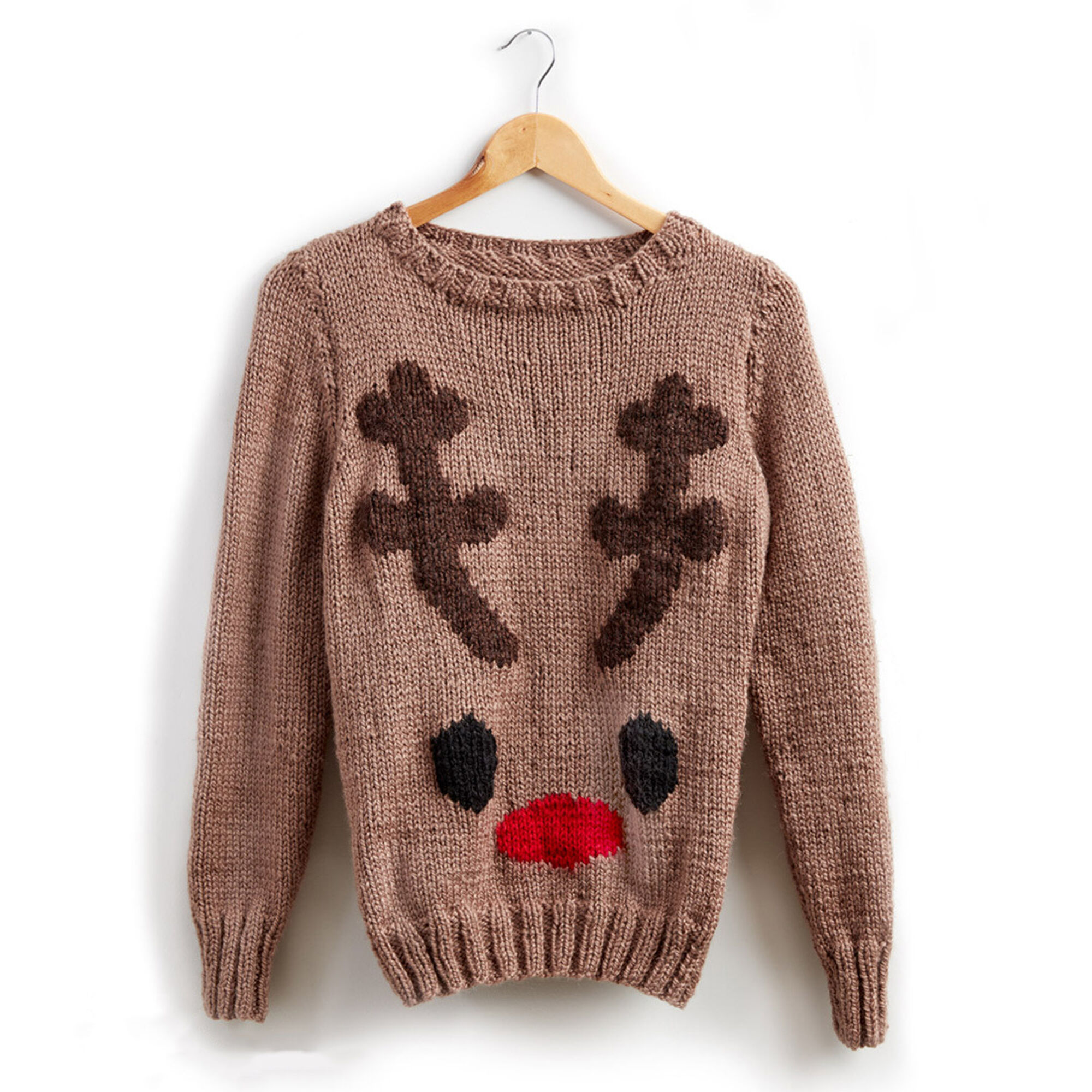 Patons Reindeer Knit Holiday Sweater, XS/S   Yarnspirations