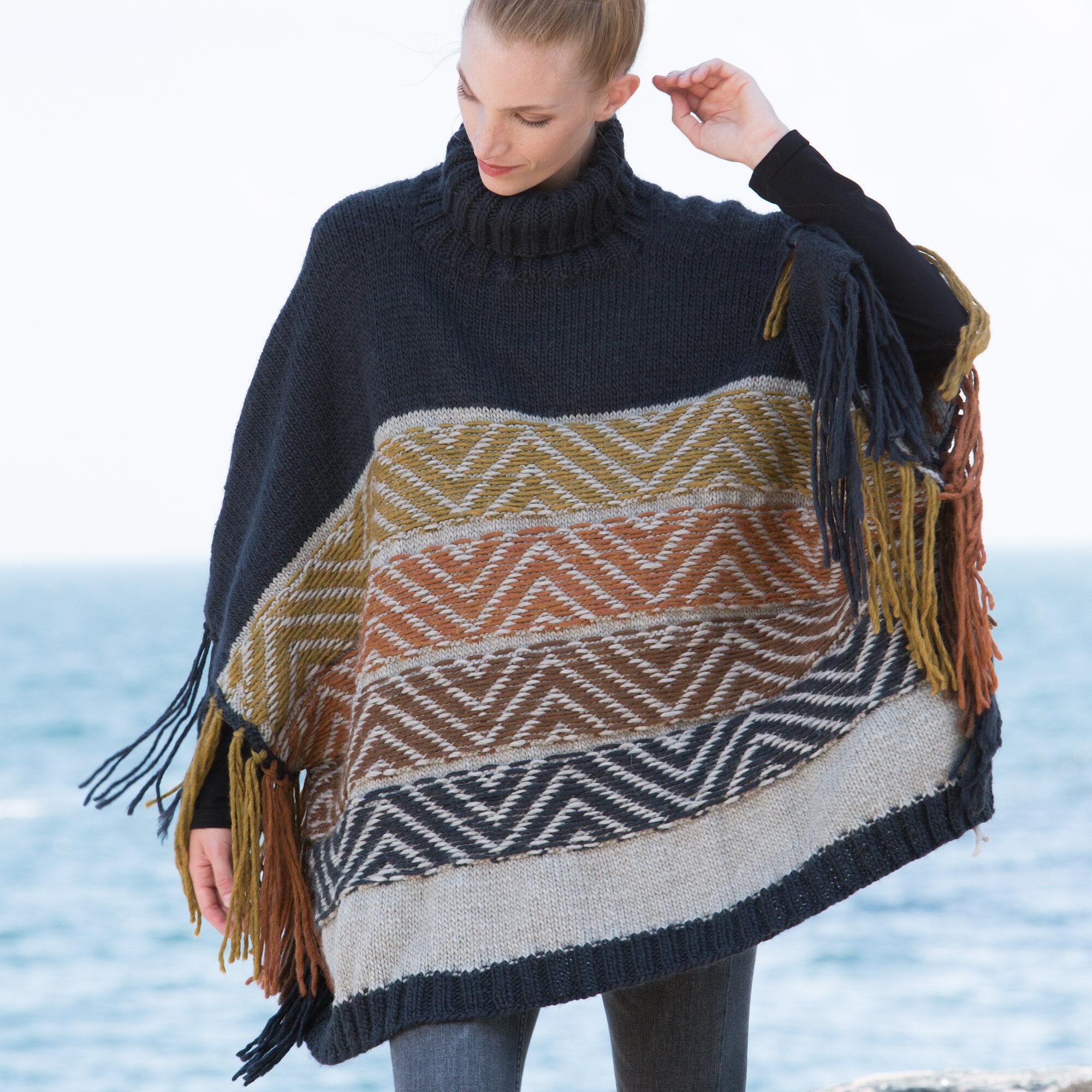 Fair Isle Knitting Kits Canada : Patons reverse fair isle knit poncho xs s m l