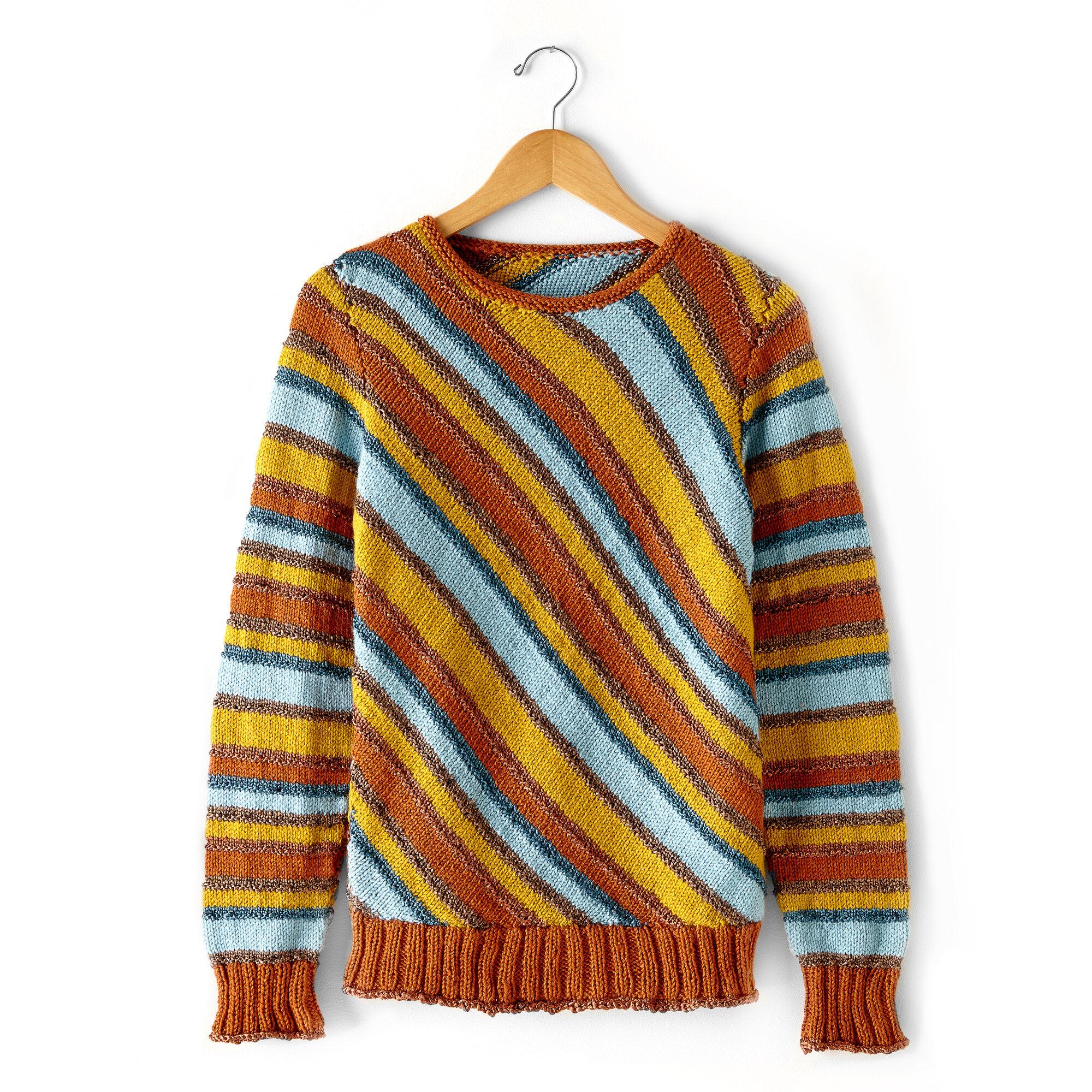 Patons Diagonal Stripes Sweater, 4XL/5XL Pattern   Yarnspirations