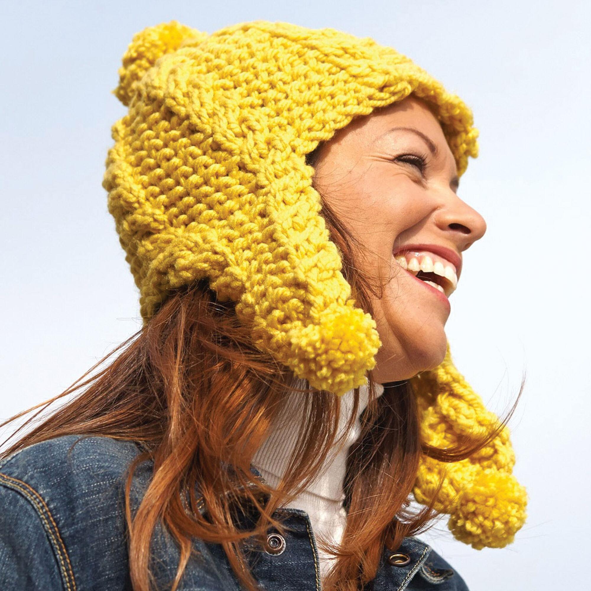 Bernat Golden Glow Earflap Hat Pattern | Yarnspirations