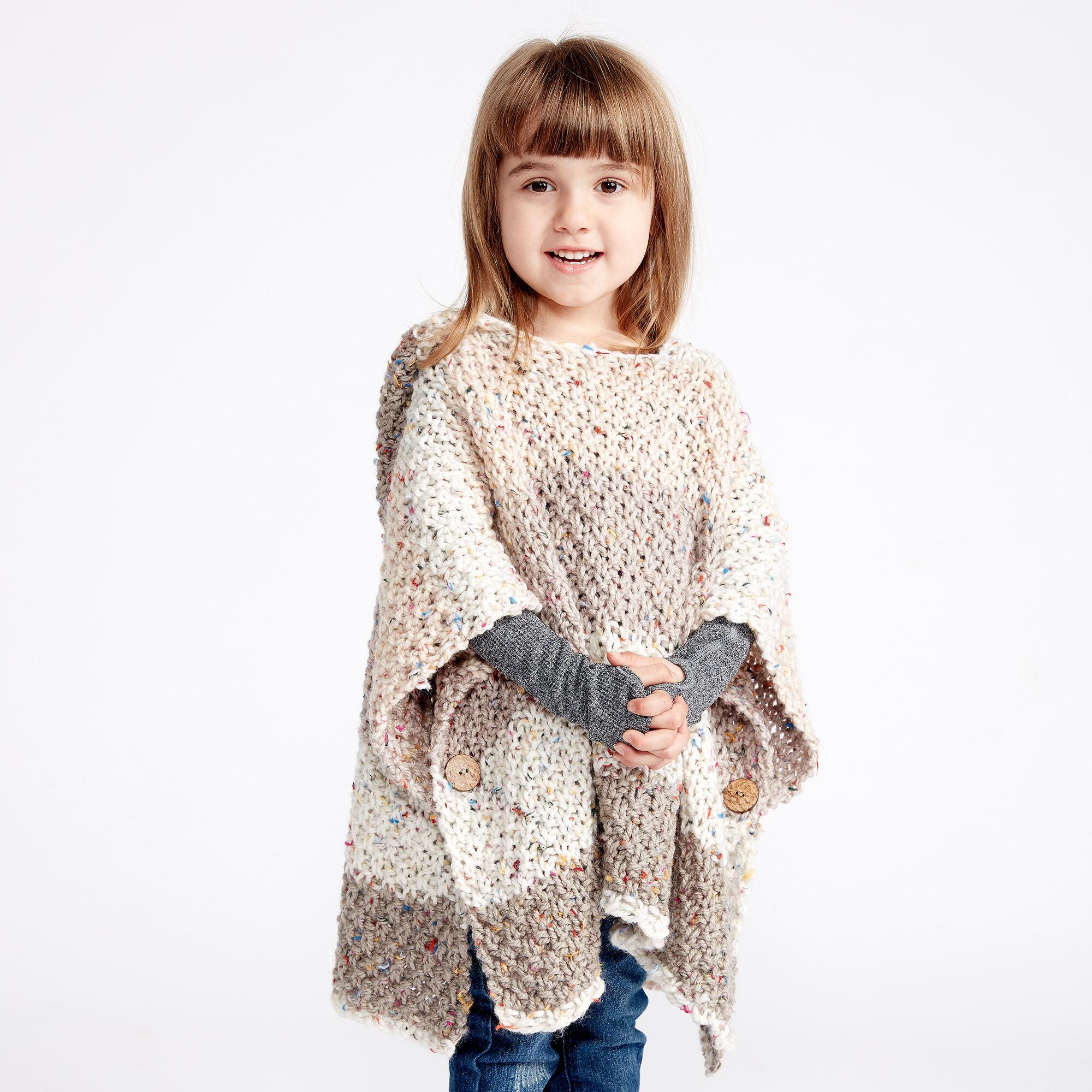 Caron Hooded Girl\'s Knit Poncho, 2-4 years Pattern | Yarnspirations