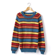 Caron Adult Knit Crew Neck Striped Pullover, Rainbow - XS/S