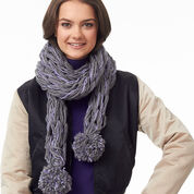 Bernat Post Haste Pompom Arm Knit Scarf