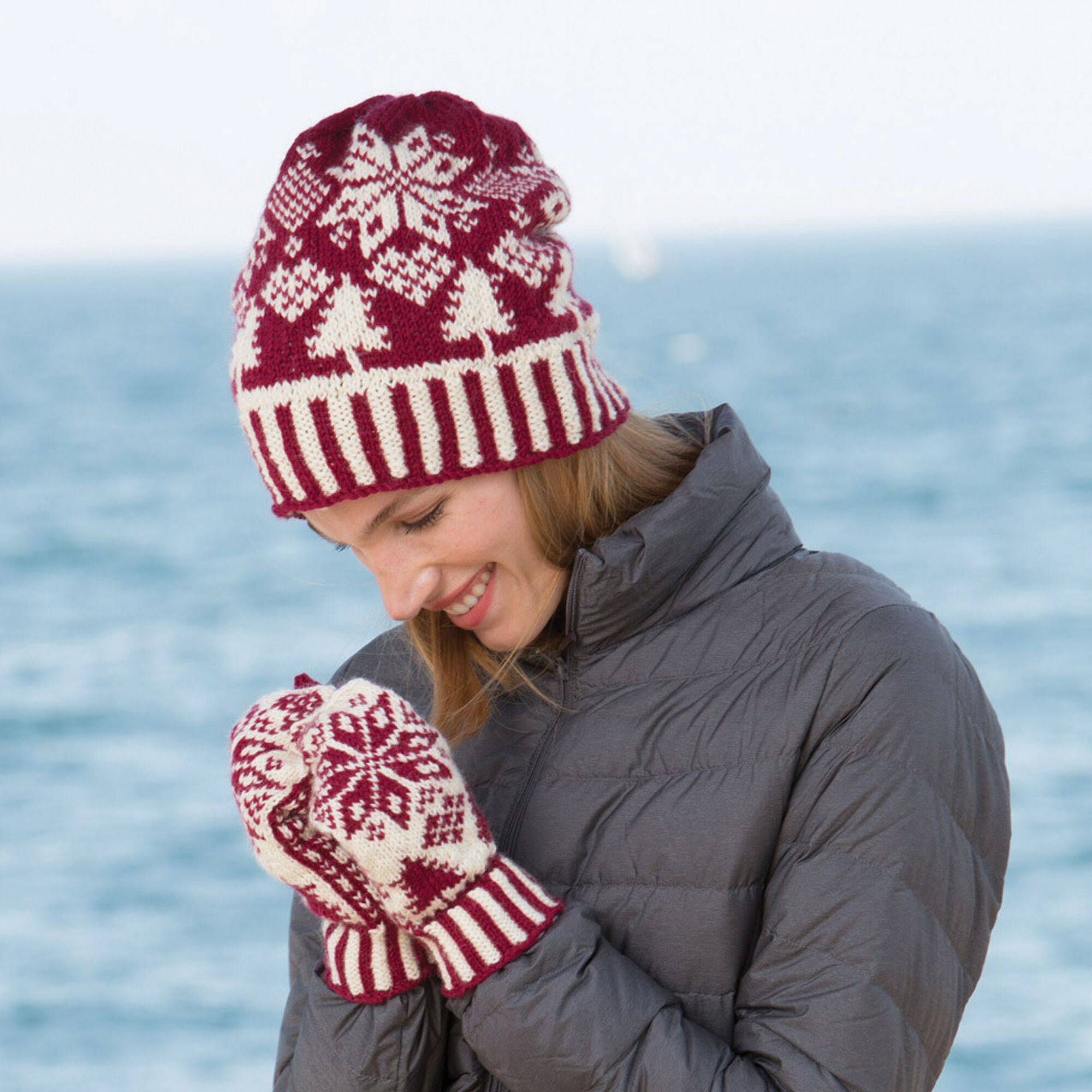 Patons Northern Fair Isle Knit Hat and Mittens | Yarnspirations