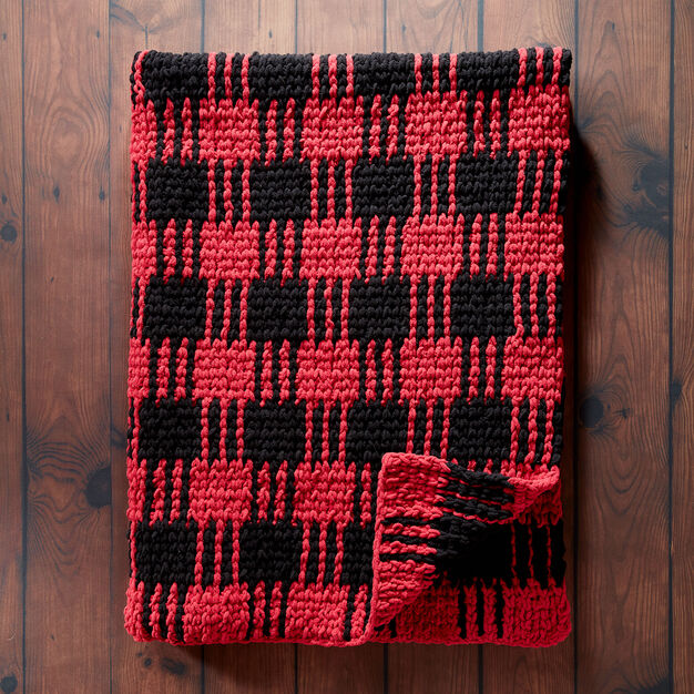 Bernat Crochet Buffalo Plaid Afghan