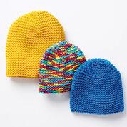 Bernat Make It Snappy Knit Hat, Version 1 - 4/6 years