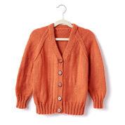 Caron Child's Knit V-Neck Cardigan, Size 2