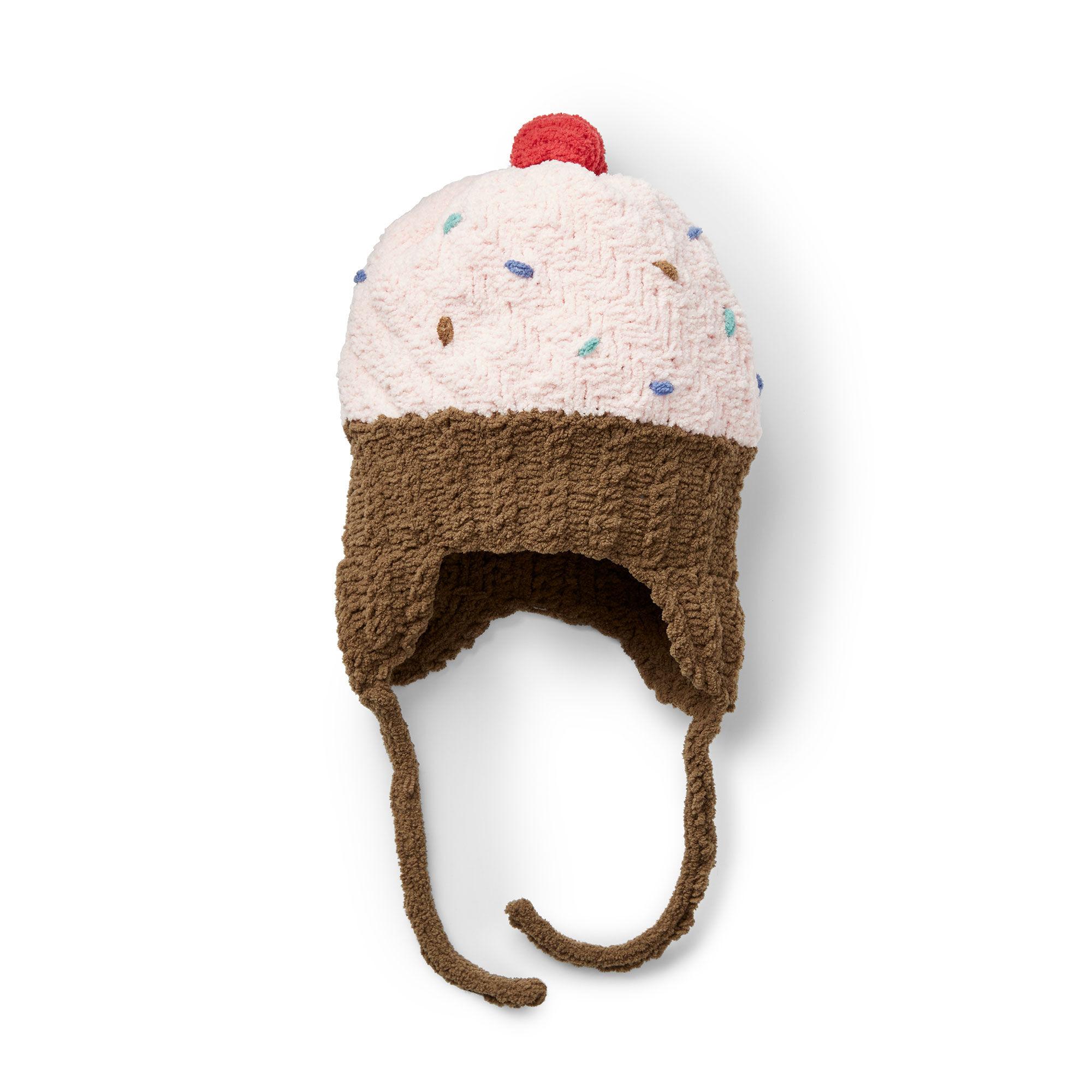 Bernat Red Velvet Knit Cupcake Hat, 18-24 mos Pattern | Yarnspirations