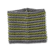 Bernat Stripe Across Crochet Cowl, True Gray/Forest