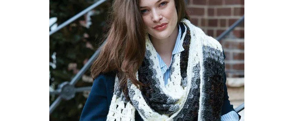 Granny Square Crochet Super Scarf in Caron Simply Soft yarn