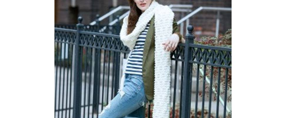 Rib Check Knit Super Scarf in Bernat Wool Up Bulky yarn