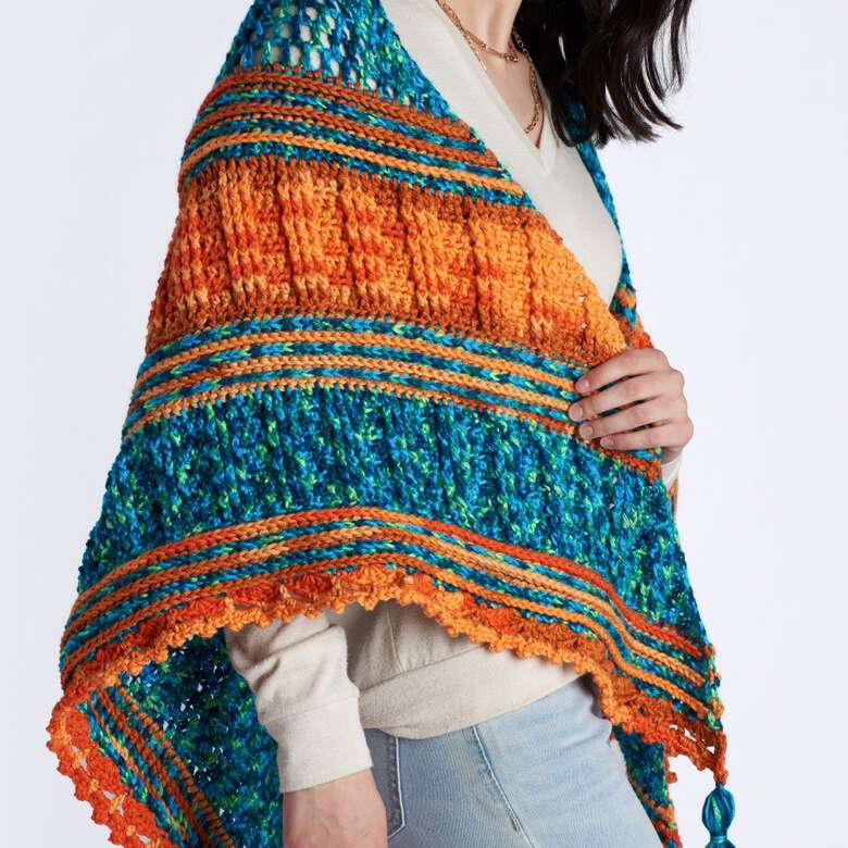 Caron boutique.  Bright styles for summer shawls and wraps.