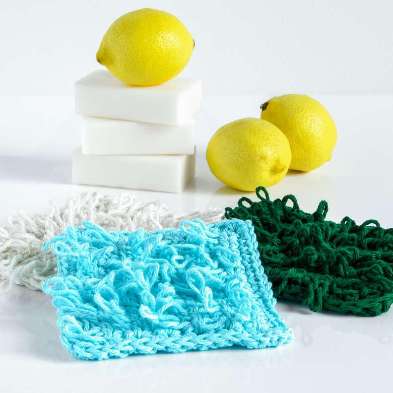 Peaches and Crème loopy crochet scrub cloth