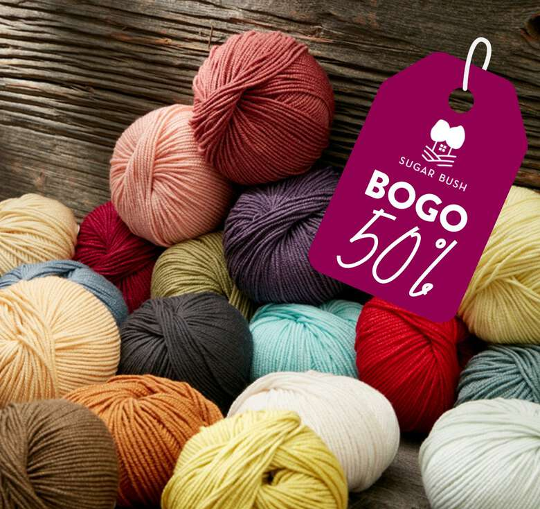 Savings that can't compare when you get a pair of Sugar Bush yarns! Buy One get 2nd 50% off.