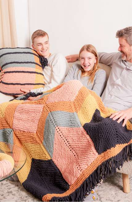 Bernat boutique, our newest Blanket O'Go patterns.