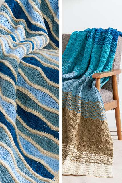 Ripple Effect, Afghans and blankets with waves of stitches.