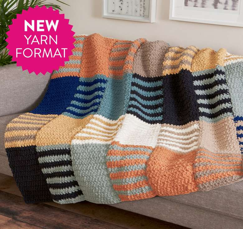 Bernat boutique, introducing Tangle-Free, Quick-Start featuring Bernat Blanket O'Go!