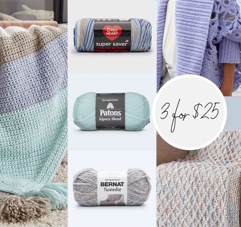 Mix and match select yarns and accessories. Buy 3 for $25 for limited time. Some exclusions apply.