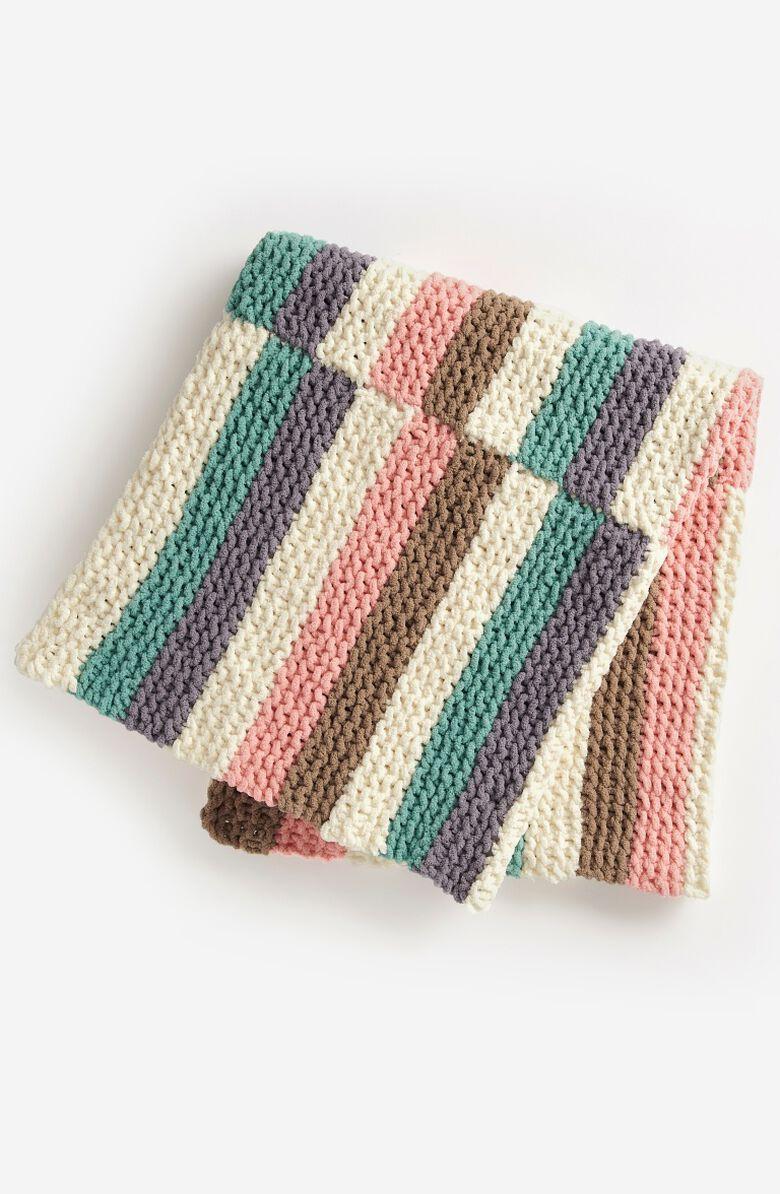 Rockabye stripes knit baby blanket with Bernat!