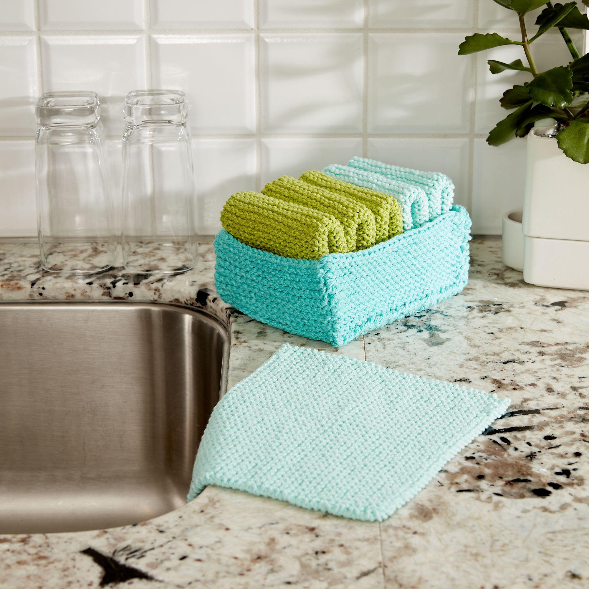 Lily Sugarn Cream Tidy Up Knit Dishcloth And Basket Yarnspirations