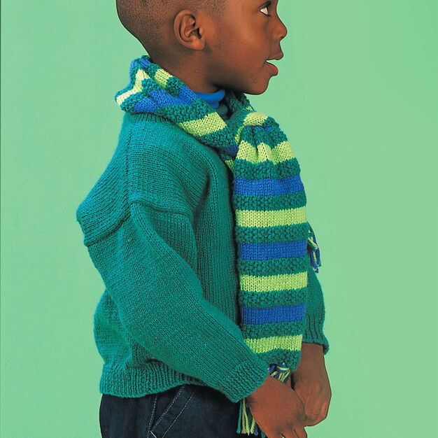 Patons Easy Pullover & Scarf, Pullover & Scarf - 4 yrs in color