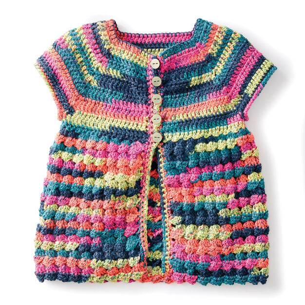 Caron Easy Way Down Crochet Cardigan, 4 yrs in color