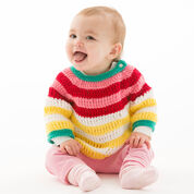 Red Heart Colorful Striped Pullover, 6 mos