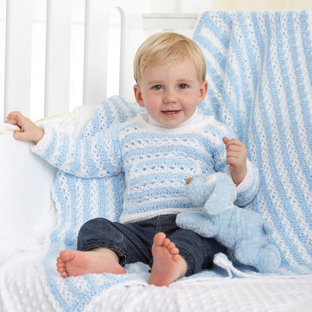 Bernat Striped Pullover and Blanket, Blanket