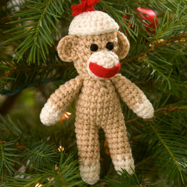 Red Heart Sock Monkey Ornament in color