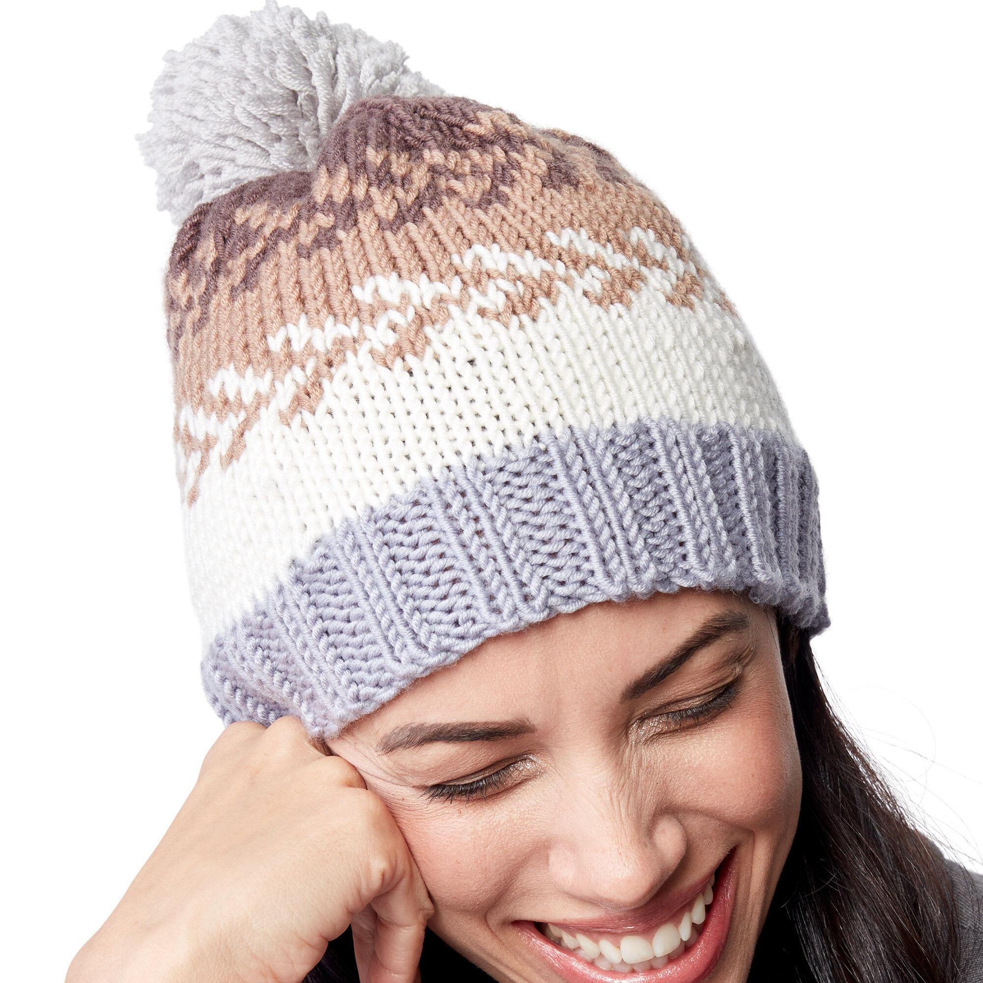 Caron x Pantone Knit Fair Isle Hat Free Pattern | Yarnspirations