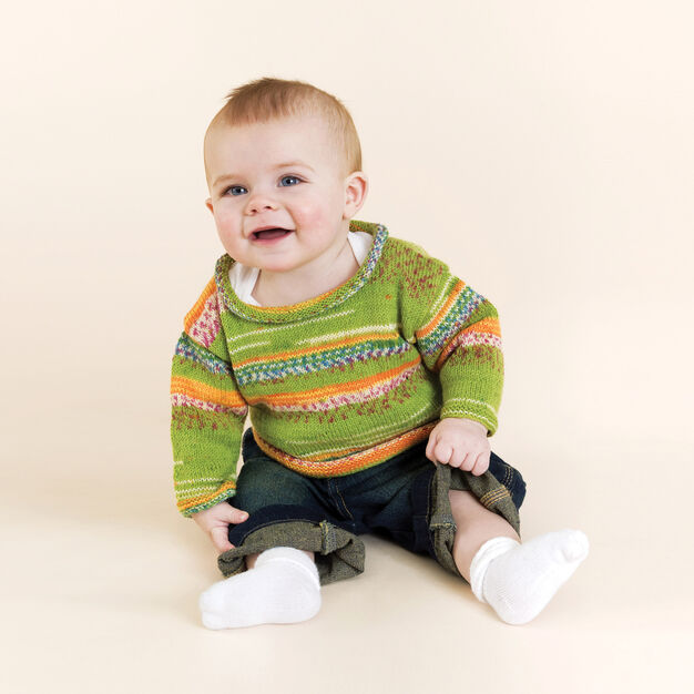 Red Heart Knit Baby Pleasure Pullover, 1 yrs in color