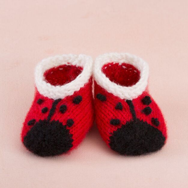 Red Heart Sweet Lady Bug Booties in color