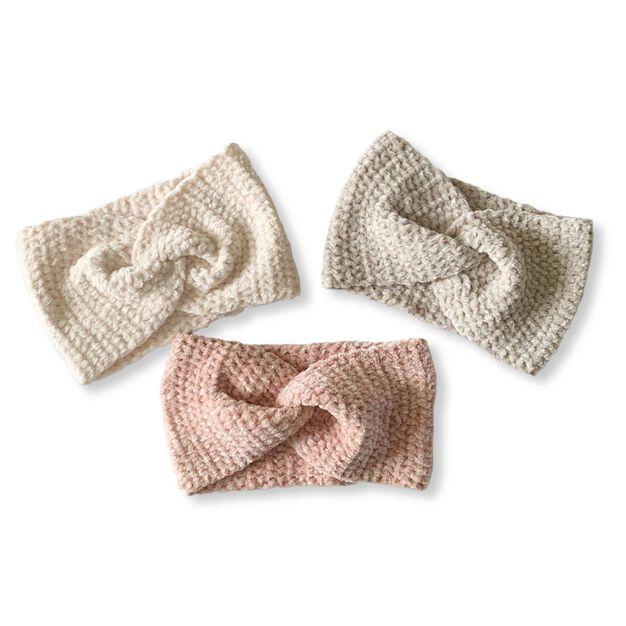 Bernat Velvet Twist Crochet Headband, Cuddly Cloud in color
