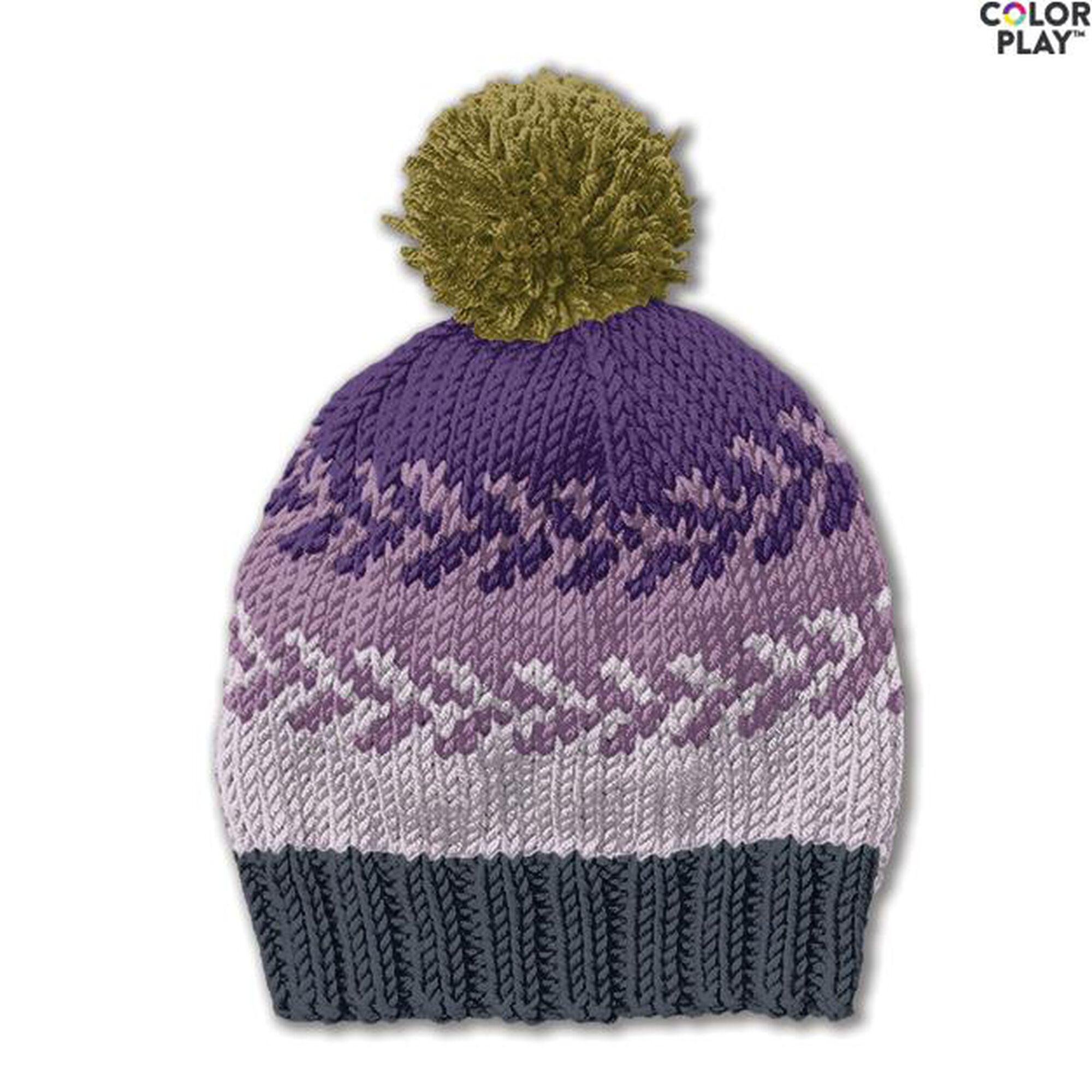 87d8e457e1c54 Caron x Pantone Knit Fair Isle Hat Free Pattern | Yarnspirations