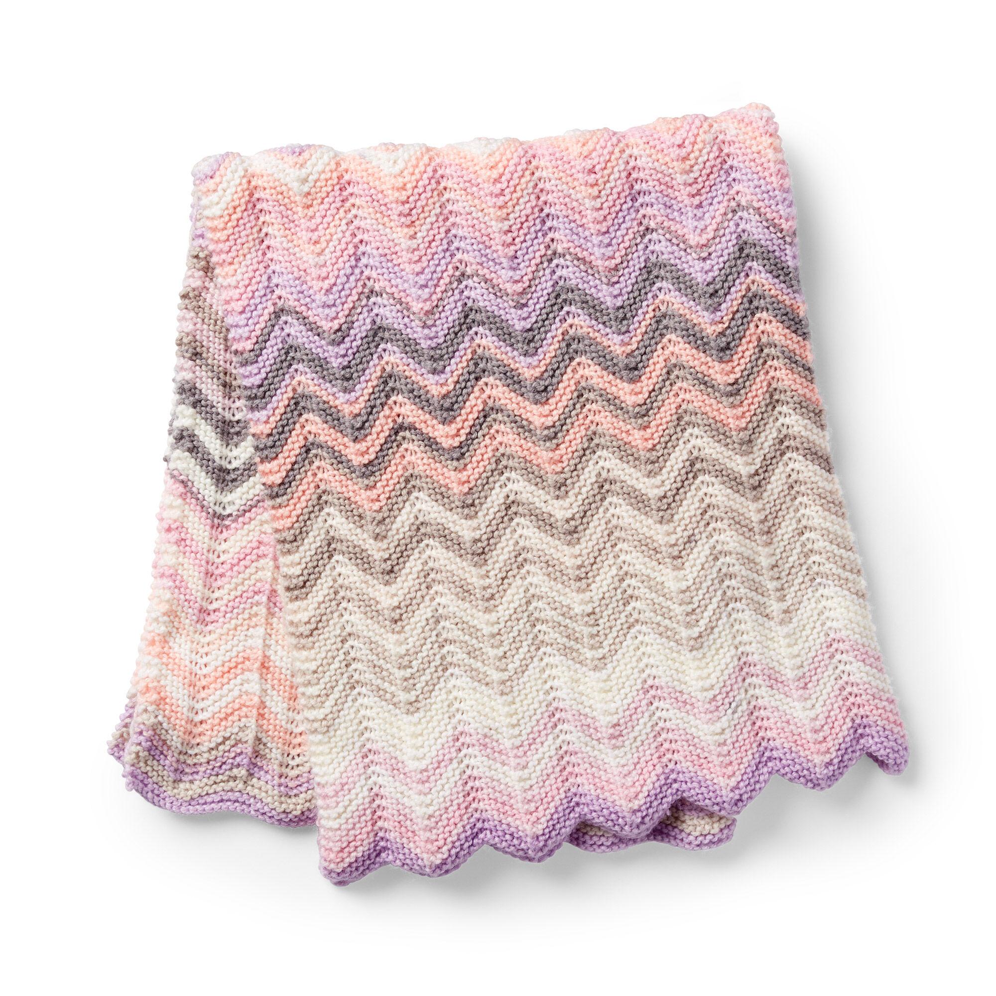 Caron Shaded Chevrons Knit Baby Blanket Pattern | Yarnspirations