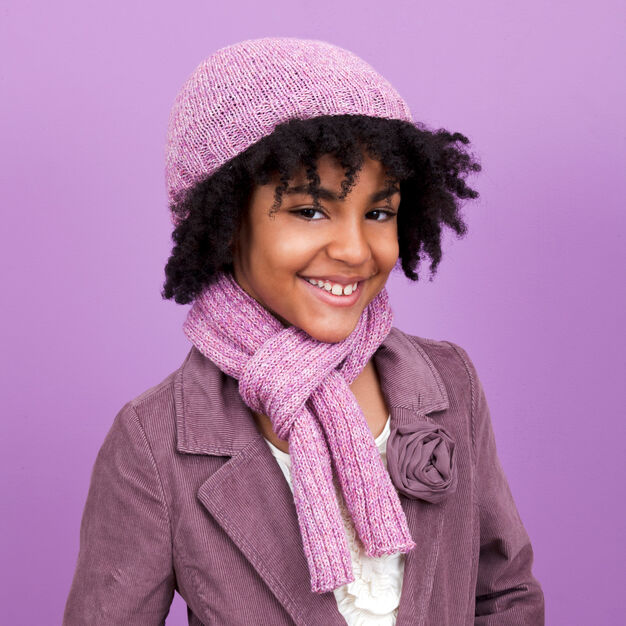 Red Heart Shine On Hat and Scarf, S in color