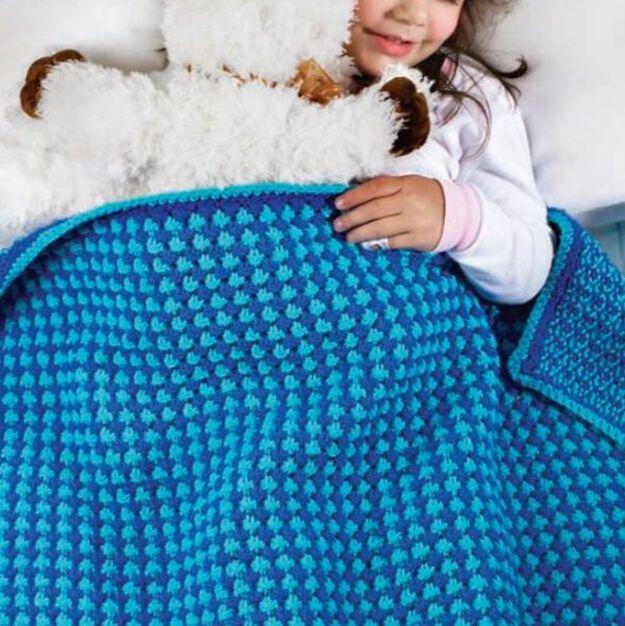 Red Heart Toddler Blanket in color