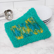 Red Heart Colorblock Knit Washcloth