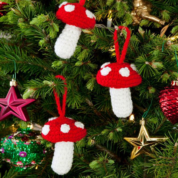 Red Heart Polka Dot Mushroom Ornaments in color