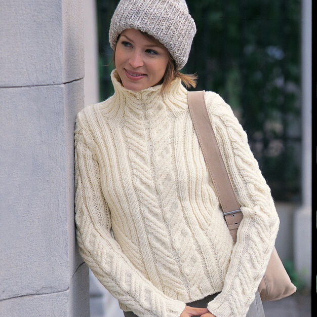 Patons Urban Aran Pullover w Toque, S in color