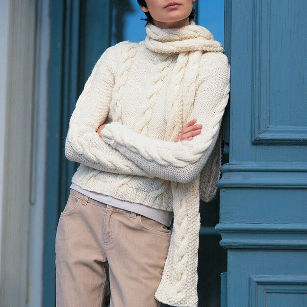 Patons Easy Street Pullover & Scarf Set, Pullover - XS