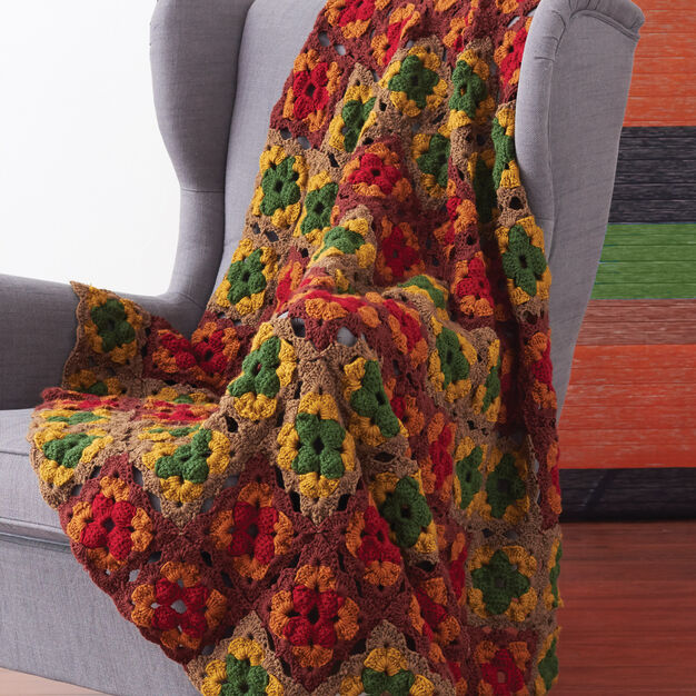 Patons Fall Colors Granny Blanket in color