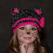 Red Heart Glam Black Cat Hat, S