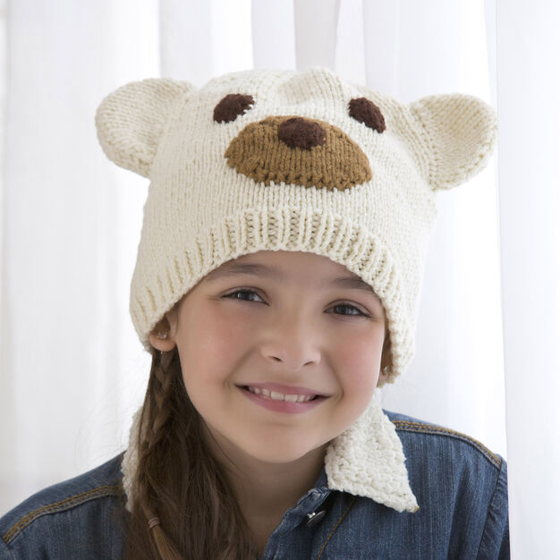 Red Heart Polar Bear Hat, M in color