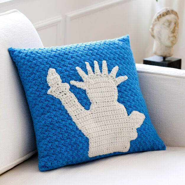 Red Heart Statue of Liberty Pillow in color