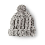 Bernat Basic Crochet Ribbed Family Hat, Gray Ragg - Size 2/4 yrs