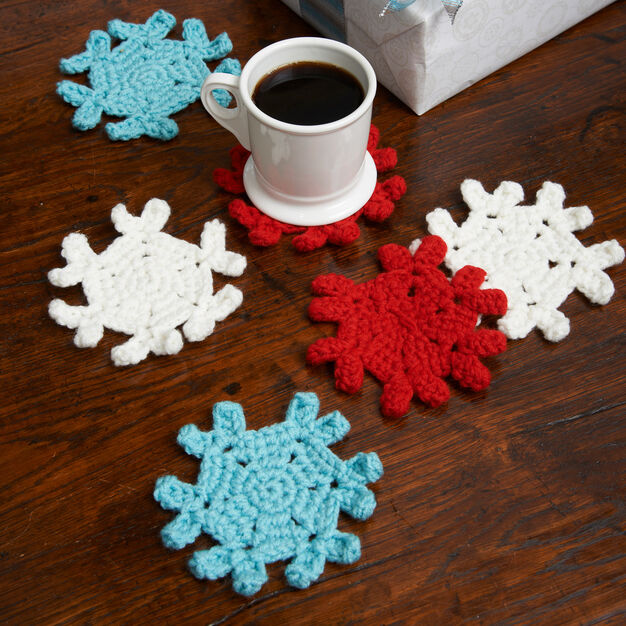 Red Heart Snowflake Coasters in color